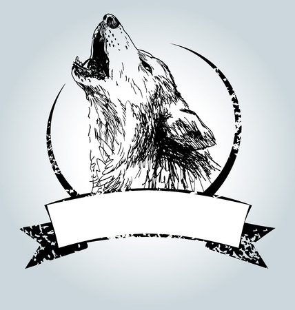 Vector vintage label with howling wolf Vettoriali