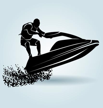 Vector silhouette d'un cavalier sur un scooter de l'eau Banque d'images - 56726967