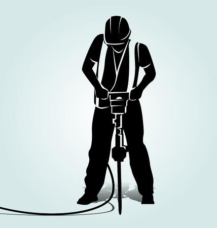 Vector silhouet van een arbeider met een jackhammer Stock Illustratie