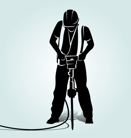 Vector silhouette of a worker with a jackhammer