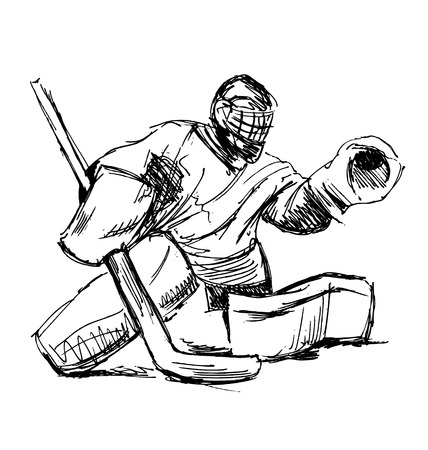 Hand sketch hockey goalie. Vector illustration Vettoriali