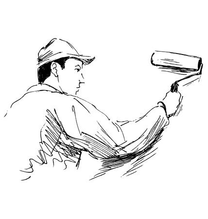 decorator: Hand sketch decorator. Vector illustration