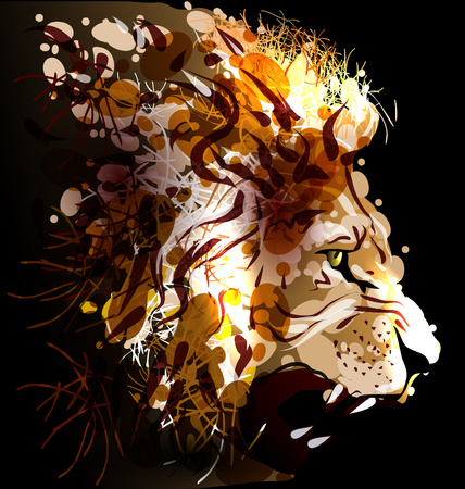 Pittura digitale di una testa di leone. illustrazione di vettore Archivio Fotografico - 56733814