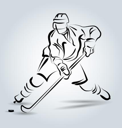 joueur de hockey croquis de la ligne de Vector