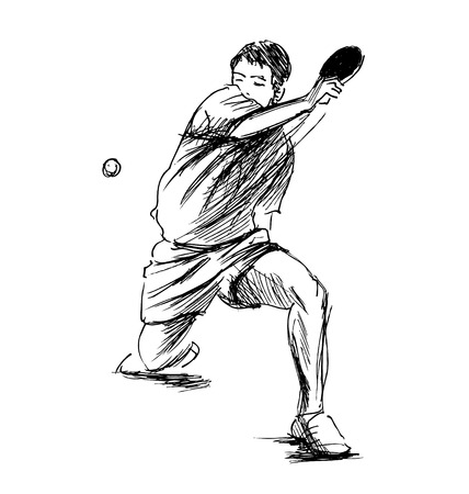 Hand sketch table tennis player illustration