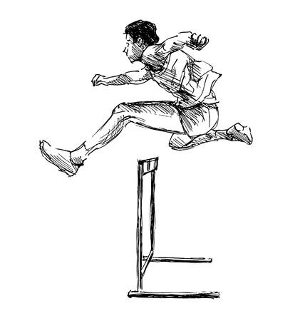 steeplechase: Hand sketch steeplechase illustration