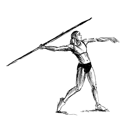 javelin: Hand sketch athlete throwing a javelin illustration