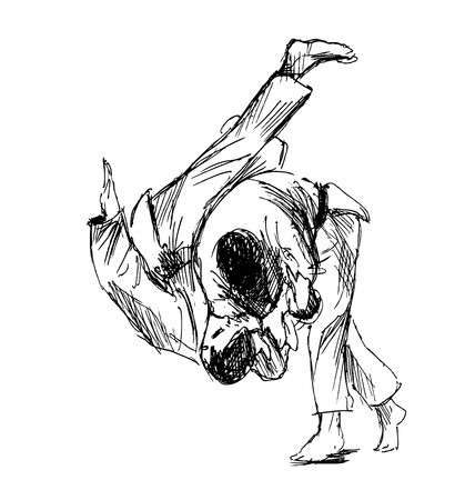 offence: Hand sketch fighting judo illustration