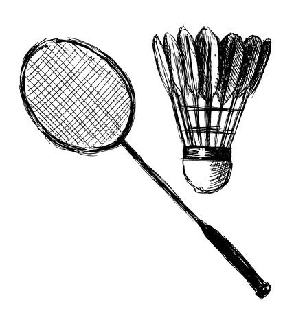 badminton racket: Hand sketch badminton racket and shuttlecock illustration Illustration