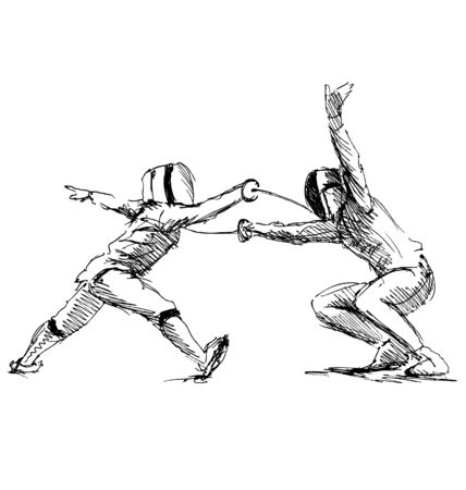 fencers: Hand sketch fencers. Vector illustration