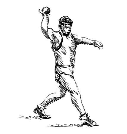 thrower: Hand sketch athlete ball thrower. Vector illustration Illustration