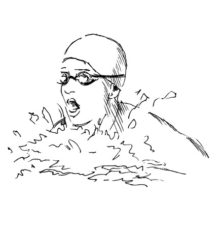 Hand sketch head swimmer Stock Illustratie