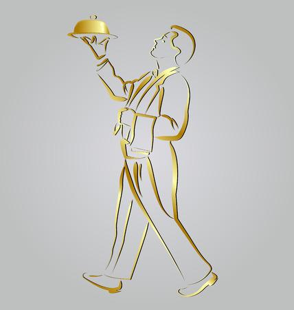 Vector Golden line sketch waiter