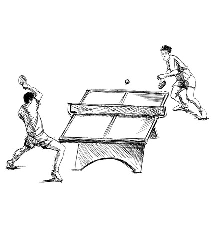 Hand sketch table tennis players. Vector illustration