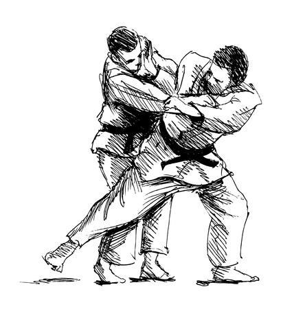 Hand schets concurrerende judo. vector illustratie