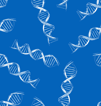 genes: Vector seamless background with the sketch DNA Illustration