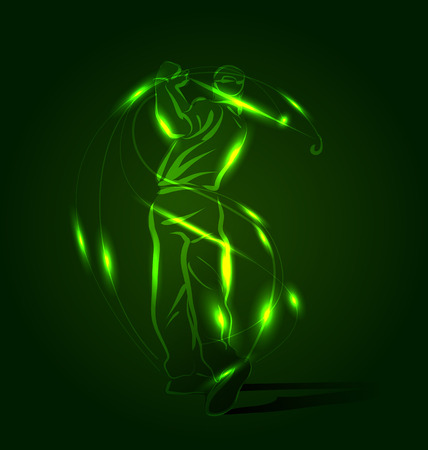 Vector abstract background with golfer