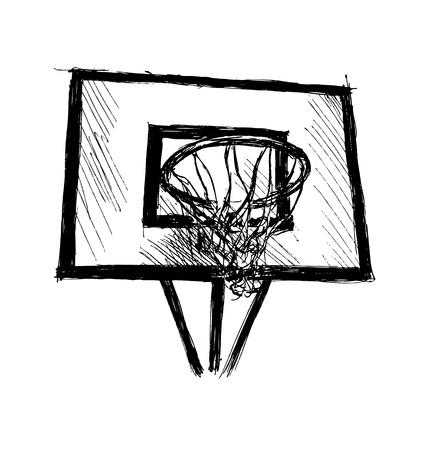 Hand sketch basketball hoop. Vector illustration