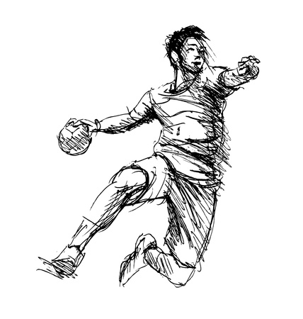 Hand sketch handball players. Vector illustration