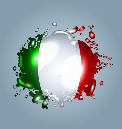 Vector illustration of water droplets with a Italy flag