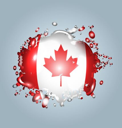 Vector illustration of water droplets with a Canadian flag