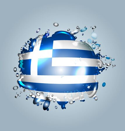 droplets: Vector illustration of water droplets with greek flag