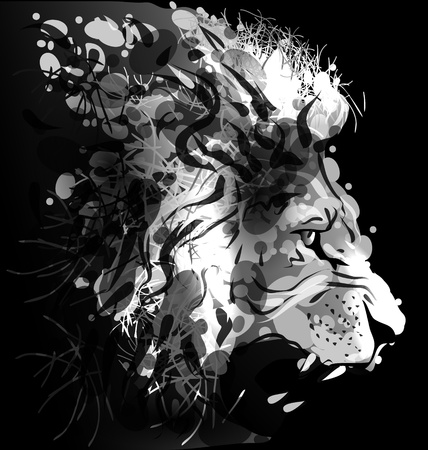greyscale: Greyscale digital painting of a lions head