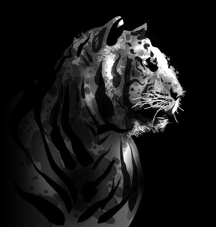 greyscale: Greyscale digital painting of a tigers head