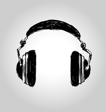 Hand sketch headphones. Vector illustration