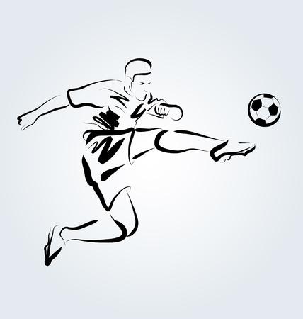 footballer: Vector Line sketch footballer