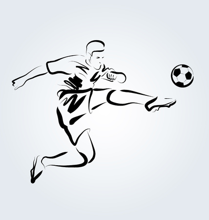 Vector Line sketch footballer