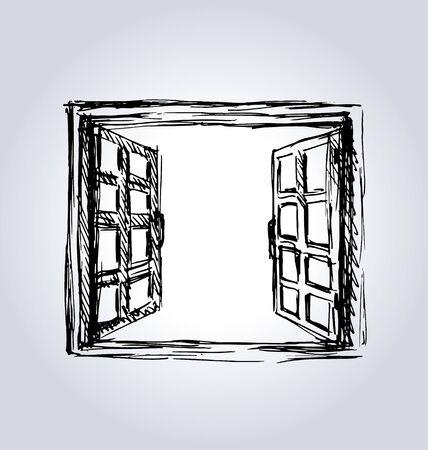 window case: Hand sketch an open window. Vector illustration Illustration