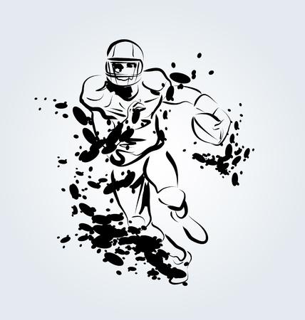 Vector ink illustration of an American football player Illustration