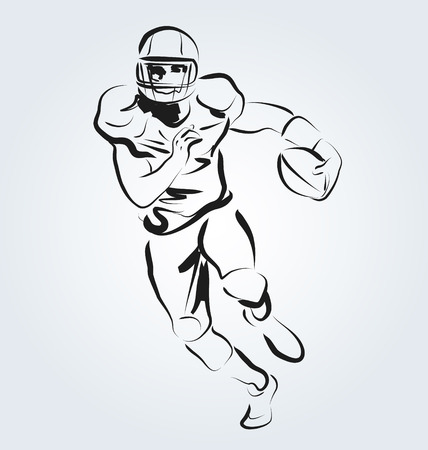 Vector line sketch of an American football player Illustration