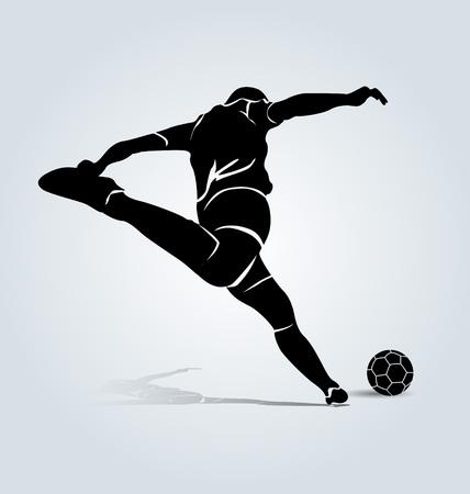 footballer: Vector silhouette kicking footballer Illustration