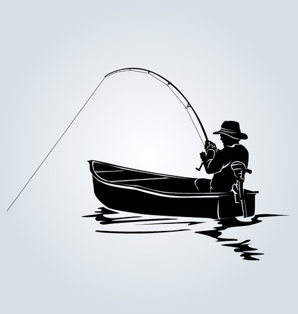 Vector silhouette of a fisherman in a boat