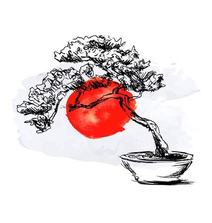 Hand sketch bonsai and watercolor Japanese flag