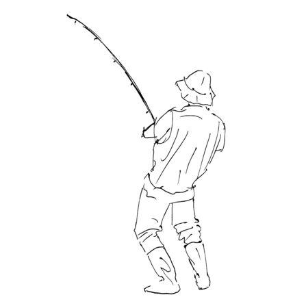 fishingline: Hand sketch line fisherman. Vector illustration Illustration