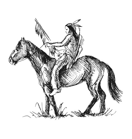 american history: Hand sketch of an American Indian. Vector illustration