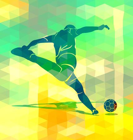 footballer: Polygonal background with a silhouette kicking footballer. Vector illustration