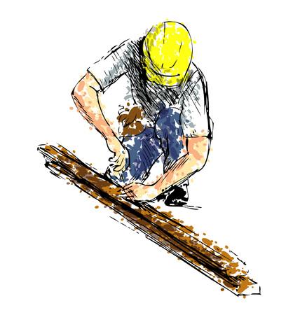 Gekleurde handschetsarbeider op het werk. Vector illustratie