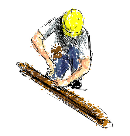 Colored hand sketch worker at work. Vector illustration