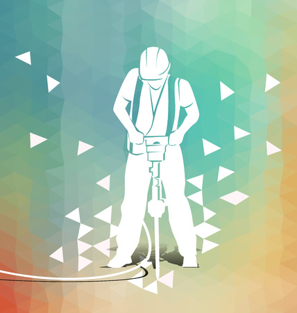 vibrate: Vector illustration of a worker with a jackhammer on polygonal background