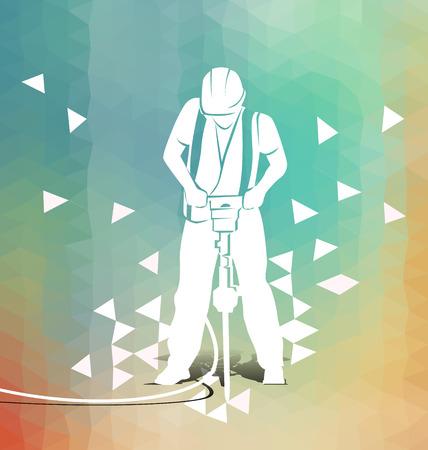 jackhammer: Vector illustration of a worker with a jackhammer on polygonal background