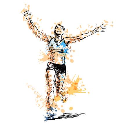 Colored hand sketch winning runner. Illustration
