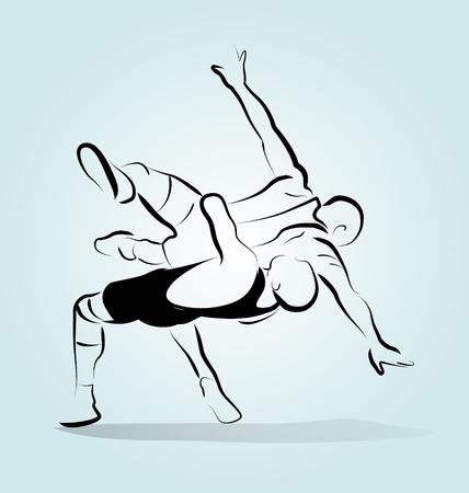 illustratie van twee worstelaars