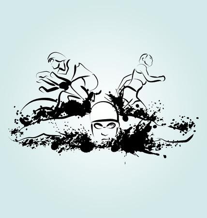 illustration triathlon Vectores