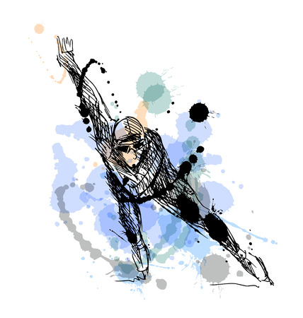 Colored hand drawing skater. Vector illustration