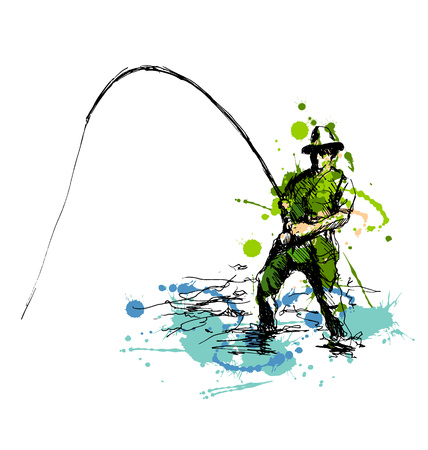 recreational: Colored hand drawing fisherman. Vector illustration