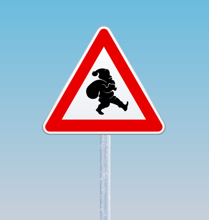 danger ahead: Traffic sign with a silhouette of Santa Claus. Christmas theme. Vector illustration.